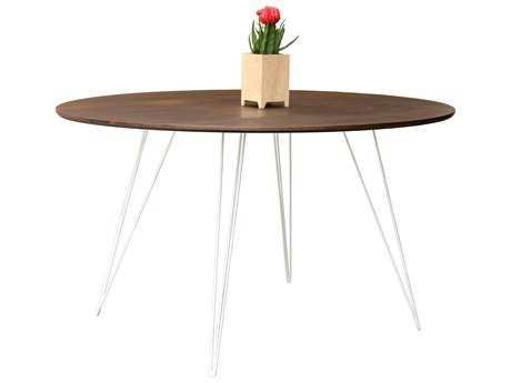Tronk Design Williams Walnut 54L x 46 Wide Oval Dining Table TROWILDINWALLGOVLWH