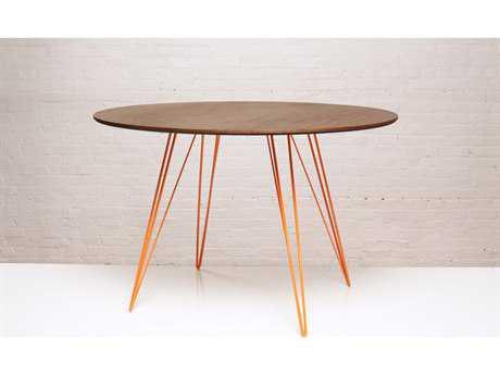 Tronk Design Williams Walnut 46L x 40 Wide Oval Dining Table TROWILDINWALSMOVLOR