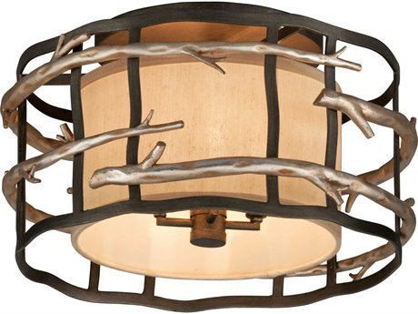 Troy Lighting Adirondack Graphite And Silver Leaf Four-Light 18'' Wide Semi-Flush Mount TLC2881