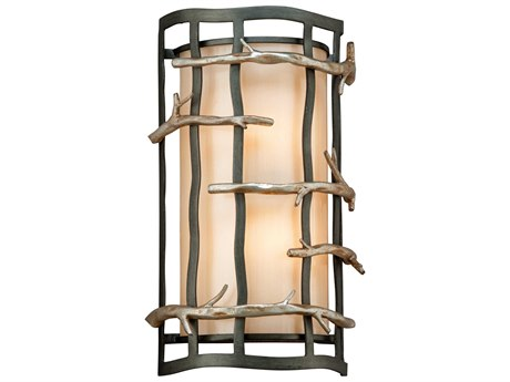 Troy Lighting Adirondack Graphite And Silver Leaf Two-Light 9'' Wide Wall Sconce TLB2882