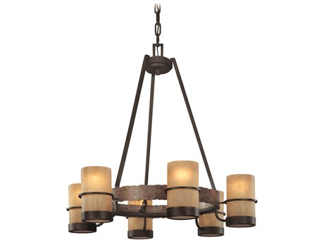 Troy Lighting Bamboo Bronze With Natural Slate 6 28'' Wide Glass Medium Chandelier