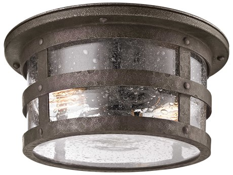 Troy Lighting Barbosa Barbosa Bronze Two-Light 15'' Wide Incandescent Outdoor Flush Mount