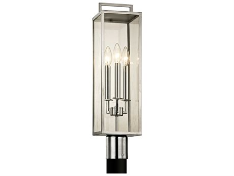 Troy Lighting Beckham Polished Stainless Three-Light 6'' Wide Outdoor Post Light