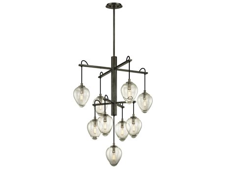 Troy Lighting Brixton Gunmetal Nine-Light 30'' Wide Pendant Light