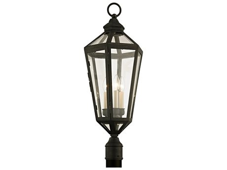 Troy Lighting Calabasas Vintage Brown Three-Light 12'' Wide Outdoor Post Light