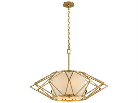 Troy Lighting Calliope Rustic Gold Leaf Six-Light 34'' Wide Pendant Light