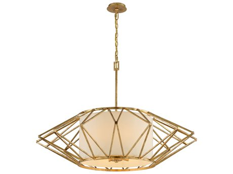 Troy Lighting Calliope Rustic Gold Leaf Eight-Light 42'' Wide Pendant Light