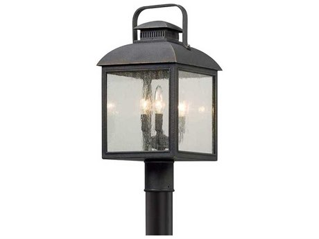 Troy Lighting Chamberlain Vintage Bronze Three-Light 10'' Wide Outdoor Post Light