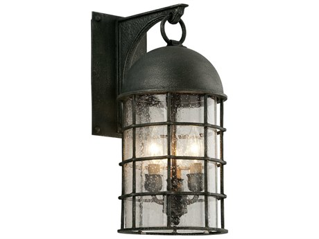 Troy Lighting Charlemagne Aged Pewter Three-Light 8'' Wide Outdoor Wall Light TLB4432
