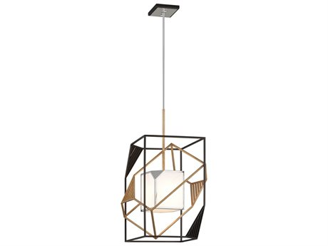 Troy Lighting Cubist Bronze & Gold Leaf & Polished Stainless 18'' Wide Pendant Light