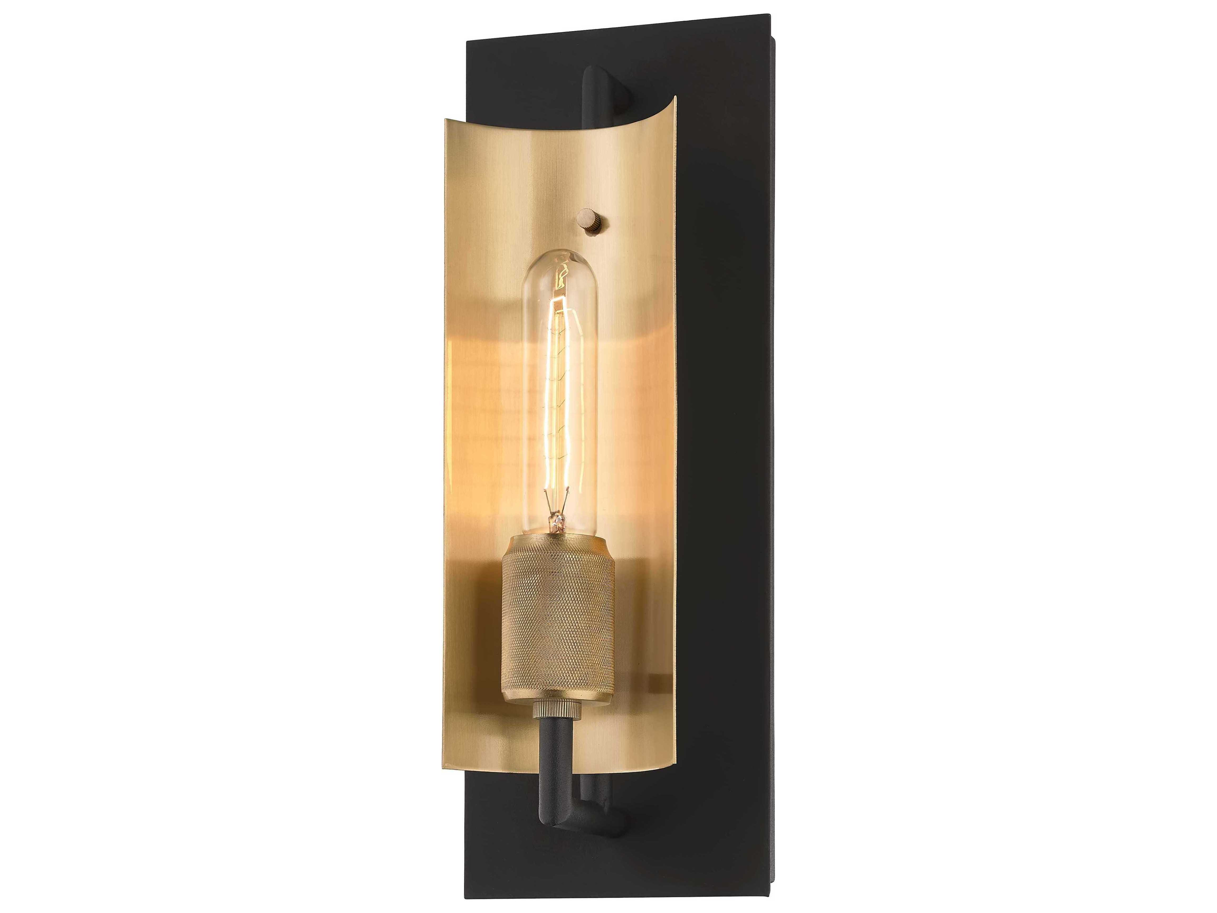 Image of: Troy Lighting Emerson Carbide Black Brushed Brass Wall Sconce B6781