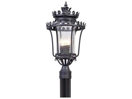 Troy Lighting Greystone Forged Iron Three-Light 12'' Wide Outdoor Post Light