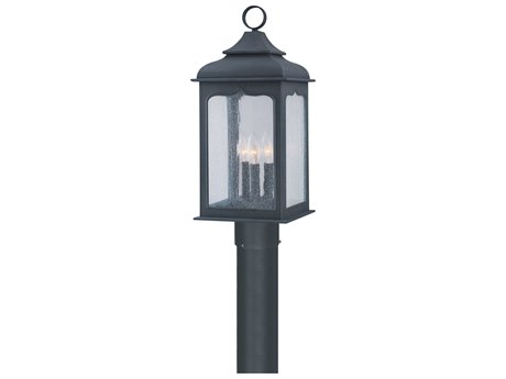 Troy Lighting Henry Street Colonial Iron Three-Light 9'' Wide Outdoor Post Light