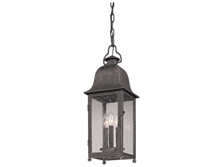 Troy Lighting Larchmont Aged Pewter Three-Light 8'' Wide Outdoor Hanging Light