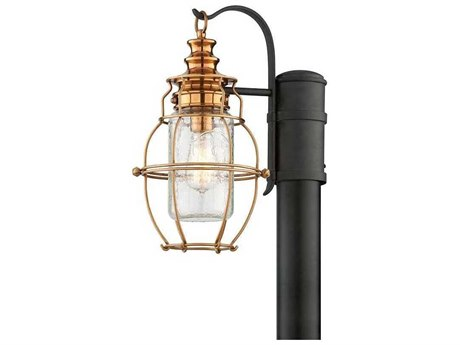 Troy Lighting Little Harbor Aged Brass With Forged Black Accents 8'' Wide Outdoor Post Light