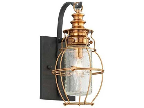 Troy Lighting Little Harbor Aged Brass With Forged Black Accents 6'' Wide Outdoor Wall Light