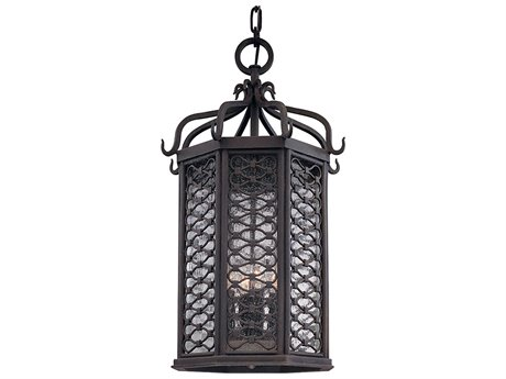 Troy Lighting Los Olivos Old Iron Four-Light 14'' Wide Outdoor Hanging Light