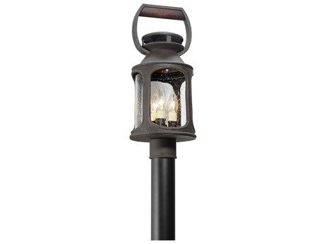 Troy Lighting Old Trail Centennial Rust Three-Light 8'' Wide Outdoor Post Light