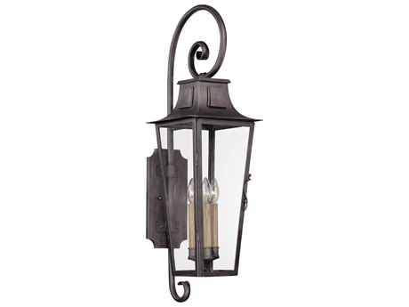 Troy Lighting Parisian Square Aged Pewter Four-Light 10'' Wide Outdoor Wall Light