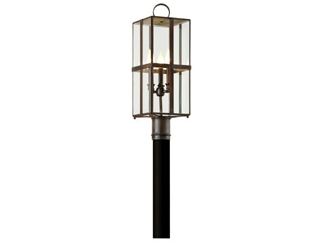 Troy Lighting Rutherford Charred Bronze Three-Light 8'' Wide Outdoor Post Light