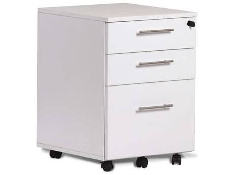 Unique Furniture 100 Series White Three-Drawer 19'' x 20'' Mobile File Cabinet Pedestal