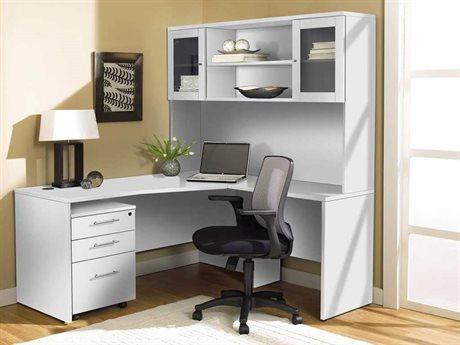Unique Furniture 100 Series White L-Shape 63'' x 63'' Computer Desk with Hutch & Mobile Pedestal