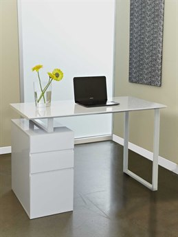 Unique Furniture 200 Series White 48'' x 24'' Desk with Drawers JE220WH
