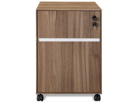 Unique Furniture 300 Series Walnut Mobile Pedestal File Cabinet