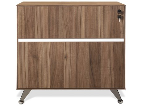 Unique Furniture 300 Series Walnut Lateral File Cabinet