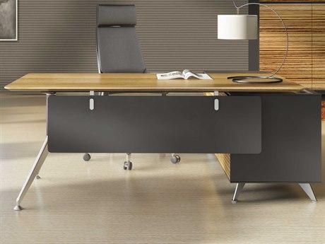 Unique Furniture 400 Series 77'' x 73'' Zebrano Executive Desk with Left Return Cabinet JE482ZE