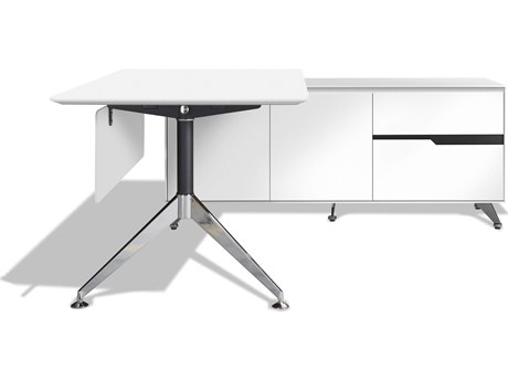 Unique Furniture 400 Series 77'' x 73'' White L-Shape Desk with Right Return Cabinet JE481WH