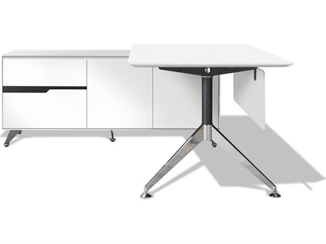 Unique Furniture 400 Series 77'' x 73'' White L-Shape Desk with Left Return Cabinet JE482WH