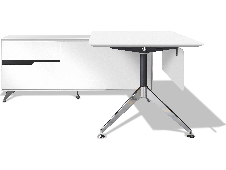 best website ccf80 4225b Unique Furniture 400 Series 77'' x 73'' White L-Shape Desk with Left Return  Cabinet