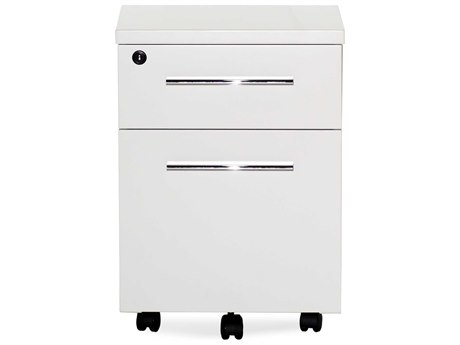 Unique Furniture 500 Series White Lacquer Two Drawer Mobile Pedestal File Cabinet