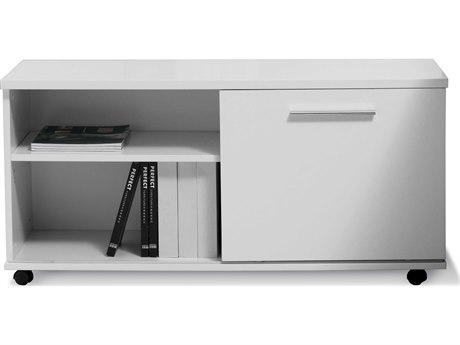 Unique Furniture 500 Series White Lacquer Low Side File Cabinet