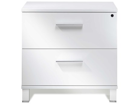 Unique Furniture 500 Series White Lacquer Lateral File Cabinet