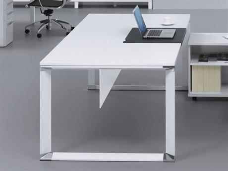 Unique Furniture 500 Series 71'' x 36'' Rectangular White Lacquer Desk JE586WH