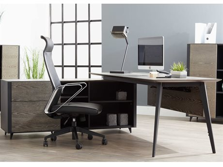Unique Furniture Oslo Grey Ash / Black L-Shaped Desk JEO7763GREY