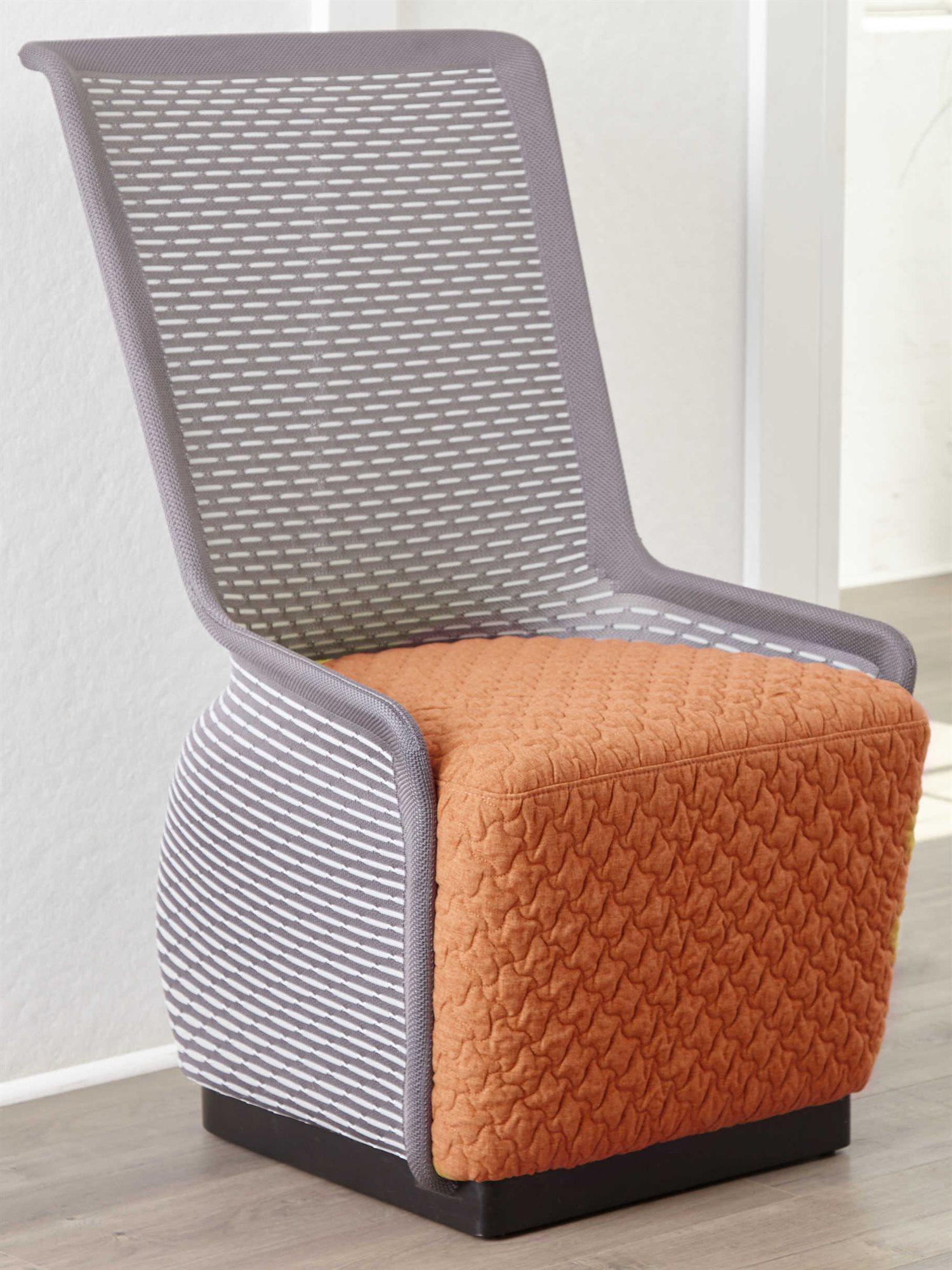 Unique furniture tulip grey orange accent chair je5441 - Unique accent chairs for living room ...