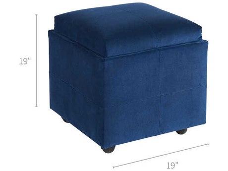 Universal Furniture Jasper Sapphire Velvet Midnight Blue Ottoman UF786584814