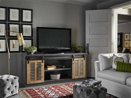 Universal Furniture Curated Cobal Black with Bisque 85''L x 21''W Rectangular Merritt Entertainment Console UF751964