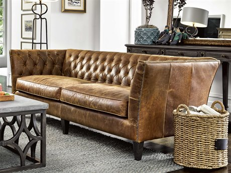 Universal Furniture Duncan Sheridan Chestnut Leather Sofa