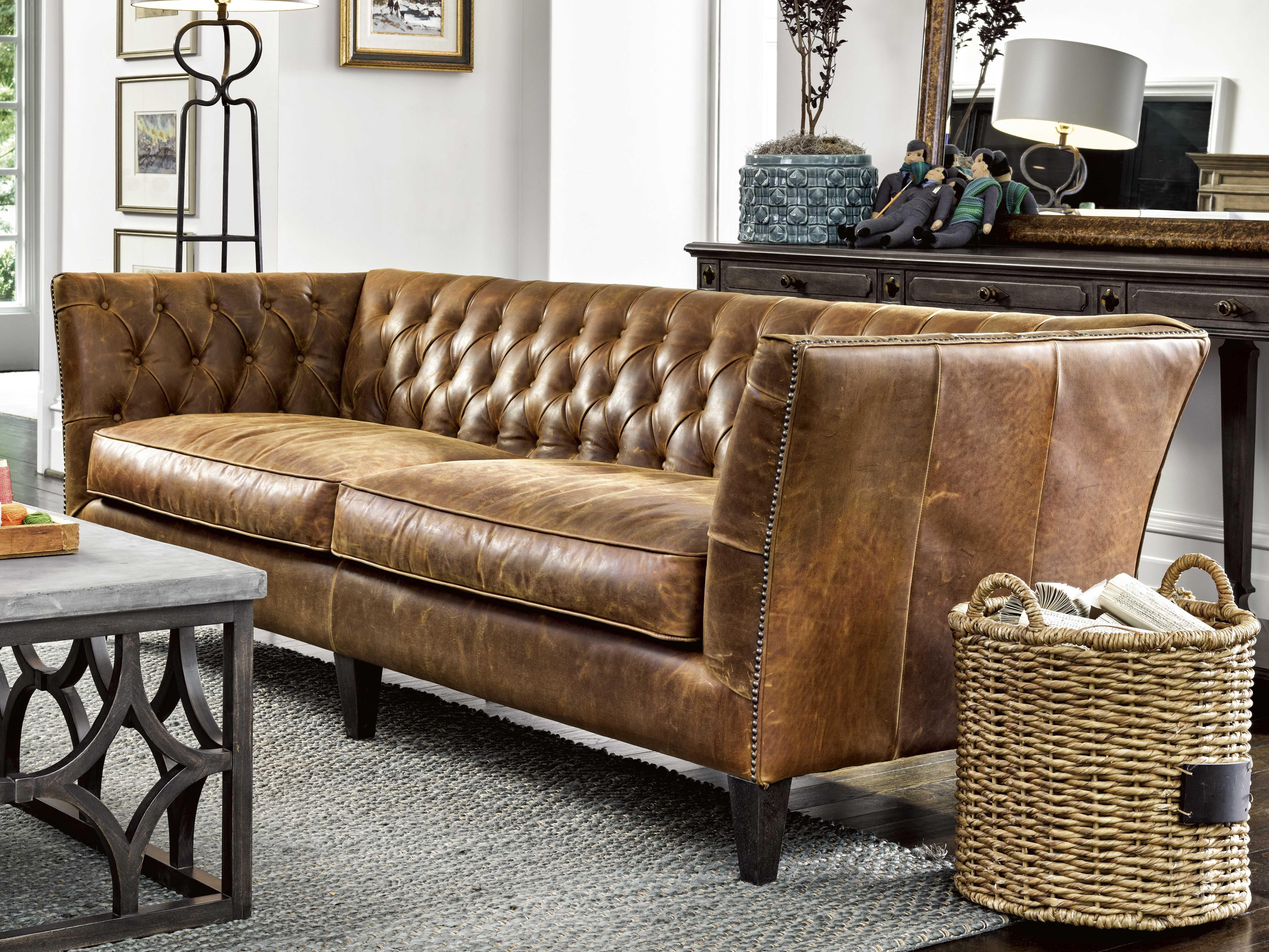 - Universal Furniture Duncan Sheridan Chestnut Leather Sofa