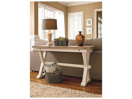 Universal Furniture Great Rooms 57''L x 36''W Rectangular Terrace Gray & Washed Linen Console Table UF128816