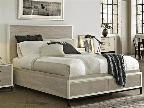 Universal Furniture Spencer Gray & Parchment King Size Panel Bed