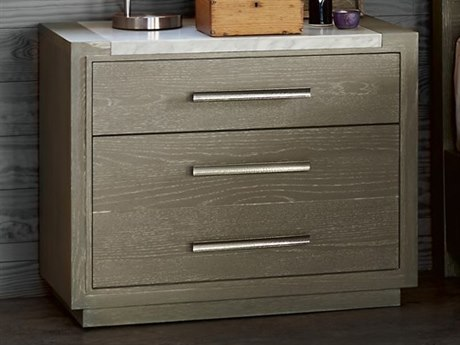Universal Furniture Zephyr Solana / Polished Stainless Steel 2 Drawers Nightstand