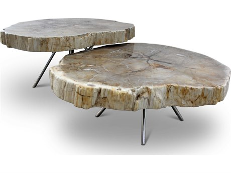 Urbia Lastra Natural Light / Polished Chrome 35-40'' Wide Coffee Table Nesting URBIPJLASTRACTL