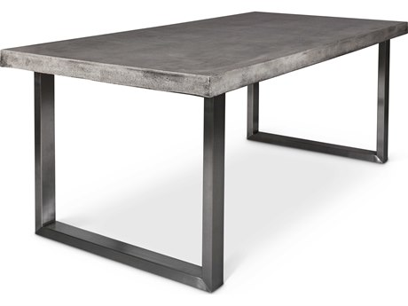Urbia Miller Dark Grey / Brushed Stainless Steel 83'' Wide Rectangular Dining Table URBVGSMILLERGDT
