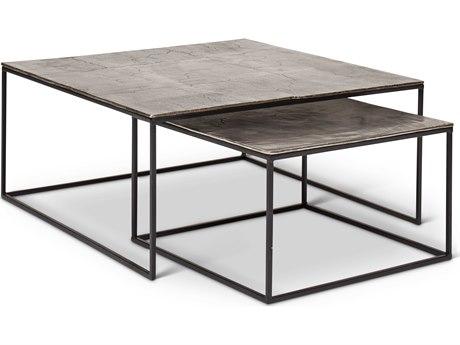 Urbia Mudra Vintage Silver 35'' Wide Square Coffee Table Nesting URBIJMUDRACTVS