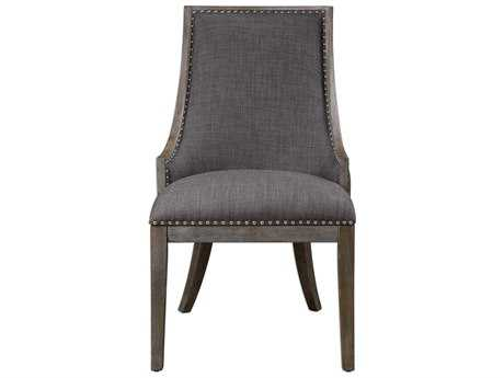 Uttermost Aidrian Charcoal Gray Linen Dining Arm Chair Chair